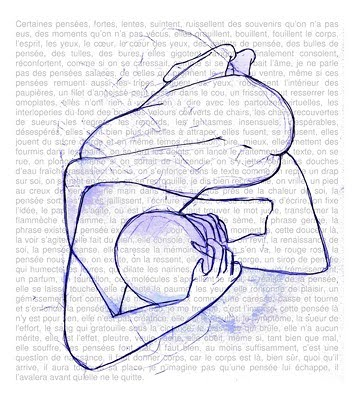 Dessin de M. DALMAZZO, écriture, pensée et chagrin